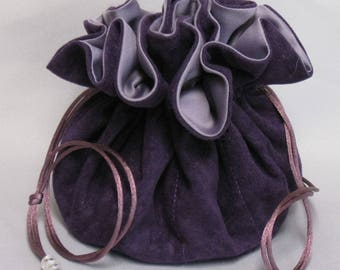 Jewelry Travel Tote---Eight Pocket Organizer Pouch---Purple Soft Suedecloth---Large Size