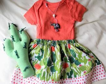Little girls cotton cactus skirt