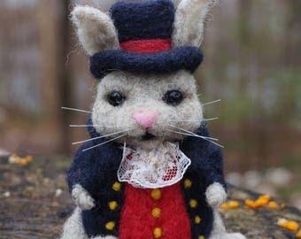 Needle Felt Rabbit the Magician Ooak Felt Wool Scupture