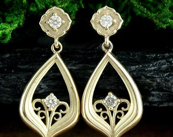 Dancing in the Moonlight Diamond Earrings, Dangle, 14k Yellow Gold, Art Nouveau Style, Victorian, Edwardian, Ready to Ship