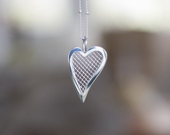 My Transparent Heart - Sterling Silver and Mesh Inlay Heart, Open Heart, by Prairieoats