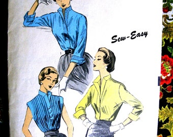 """1950s Advance Pattern 6534 - BEAUTIFUL Misses' Evening Blouse  * """"Sew Easy"""" Factory Folded *Size 12, bust 30"""