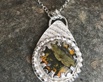Bumblebee Jasper Long Pendant Necklace - Sterling Silver Teardrop Pendant with Yellow and Black Jasper Stone - Everyday Silver Jewelry