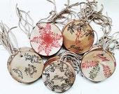 10 Handmade Round Xmas Gift Tags. Primitive Vintage Gift Tags. Bells. Angels. Koalas. Deer. Retro Xmas. Trees. Sleigh. Vintage 1950s Stamps.