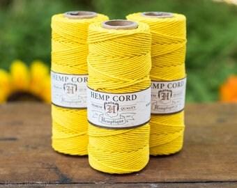 Hemp Cord  1mm, 205 Feet Spool,   Hemp Jewelry Cord   Friendship Bracelet Cord, Yellow   -T4