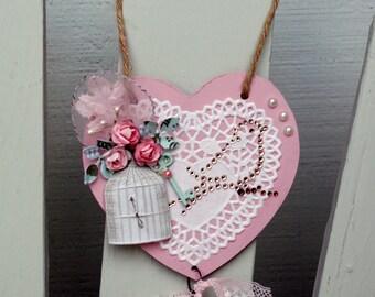 Bird Pink Heart Ornament Decoration