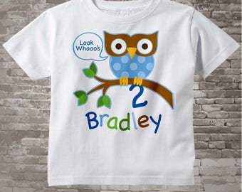 2nd Birthday Owl Shirt, Personalized Boys Second Birthday Owl Shirt or Onesie with Child's Name and age 02072014b