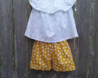 Dotty Yellow Girls Shorts
