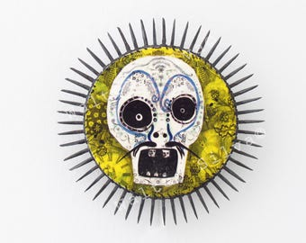 Day of the Dead Skull No:7 Wall Hanging - Mixed Media Skull Assemblage - Sugar Skull Wall Hanging - Dia de los Muertos Art