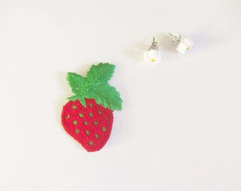1980 strawberry patch and tiny flower earrings set . AW . retro teen jewelry