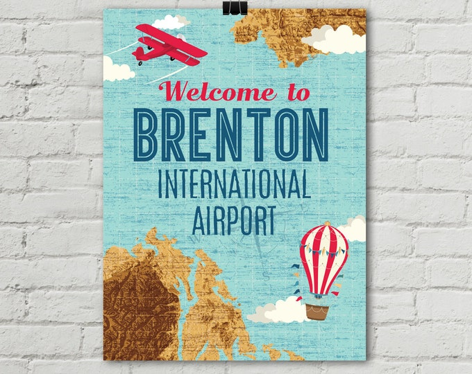 "Retro Airplane Poster 18""x24"", Welcome Airplane Poster, Aviator Birthday Party, Map Party, 1st Birthday 