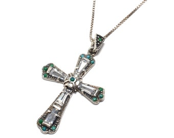 Victorian Revival Turquoise &  Sterling Silver Cross  Necklace