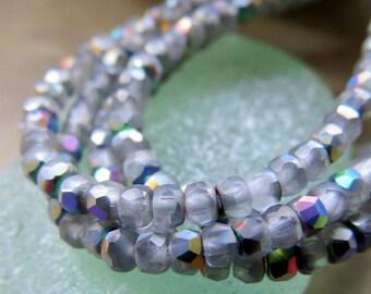 NEW TINY VITRIAL . Czech Metallic Glass Beads (50 beads) 2 by 3 mm