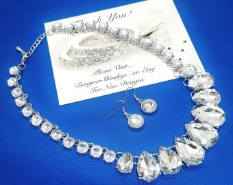 Large Chunky Rhinestone Statement Bridal Tear Drop Necklace and Earrings Set