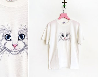 Vintage 1990s White Embroidered Cat Face Poly Cotton Blend T-Shirt Size M