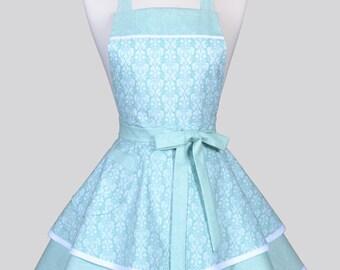 Ruffled Retro Pinup Apron - Romantic Aqua Blue White Damask Womans Vintage Style Bridal Wedding Apron to Personalize or Monogram