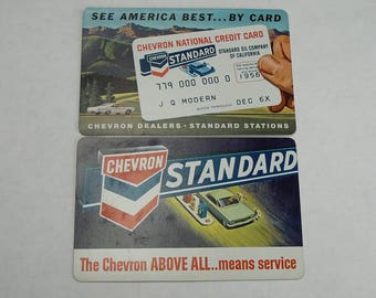 1960's Chevron Standard Oil Calendar Cards Credit Card Ad Pocket Cards