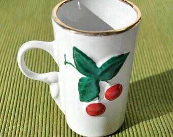 Vintage 1950's cup with cherries, espresso coffee cup, demitasse mug with cherries