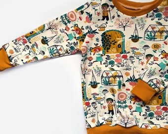 Organic hidden garden Sweatshirt, baby jumper, baby clothes.