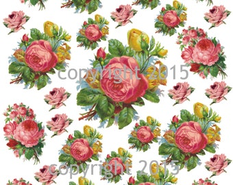 Printable Victorian Flowers Pink Roses #102 Collage Sheet.  Instant Digital Download,  Flowers, Scrapbook Embellishments