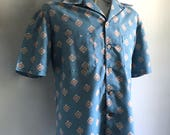 Vintage Men's 70's Blue, Shirt, Short Sleeve, Button Down (XXL)