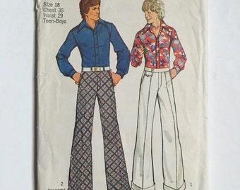 Vintage Sewing Pattern Teen Boy's/Men's 70's Partially Uncut, Simplicity 5656, Shirt, Wide Leg Pants
