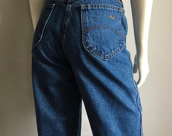 Vintage Women's 80's Chic Jeans, High Waisted, Tapered Leg, Denim (M)