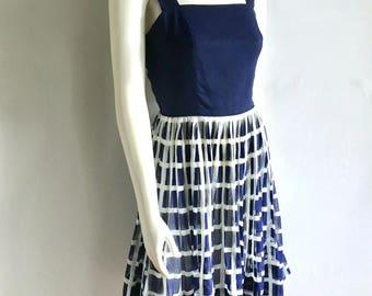 Vintage Women's 50's Jean Lang, Sleeveless Summer Dress, Navy Blue, Knee Length (S)