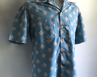 Vintage Men's 70's Blue, Shirt, Short Sleeve, Button Down (XXL)