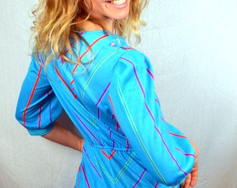 Vintage Fun 80s Chevron Striped Rainbow Summer Dress