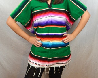 Vintage Boho Mexican Woven Poncho Vest