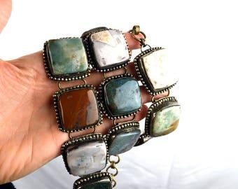 Amazing Vintage 60s 70s Polished Agate Stone Silver Ethnic Belt