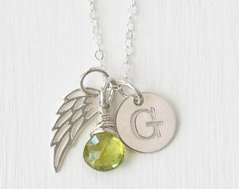 Infant Loss Jewelry / Sterling Silver Angel Wing Necklace / Stillborn Memorial / August Birthstone Necklace / Personalized Initial