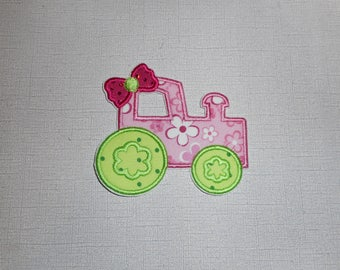 Free Shipping Ready to Ship Girly Tractor Machine Embroidery iron on applique