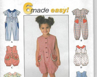 Uncut, Child Size 2-4, Sewing Pattern, Simplicity 8114, 6 Made Easy, Toddler Girl Dress, Jumpsuit, Romper, Peter Pan Collar, Snap Crotch