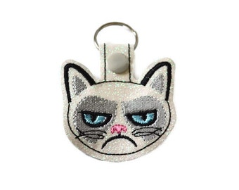Grouchy Cat Keychain | Cat Key Chain | Zipper Pull | Bookbag Accessory | Purse Zipper Pull | Grumpy | Bag Tag | Luggage Tag | Nerd Gift