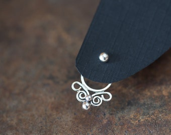 Handcrafted silver ear jacket earring SET, front back earring, sterling silver butterfly earring with 3mm silver dots