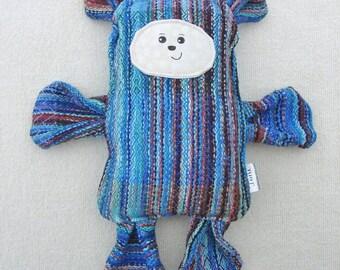 Shadow Bear -  BarleyTwist Handwoven Wrap Scrap Bear Pillow Plush - Hand Drawn Face - Blue Brown