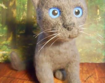 RUSSIAN BLUE KITTEN Needle Felted Wool Kitten