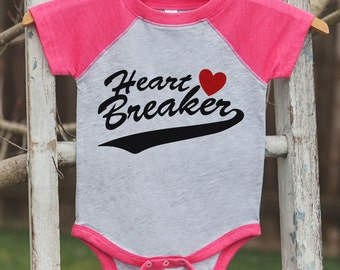 Kids Valentines Outfit - Heart Breaker Valentine's Day Shirt or Onepiece - Kids Pink Raglan Valentine's Shirt - Baby Valentines Day Outfit