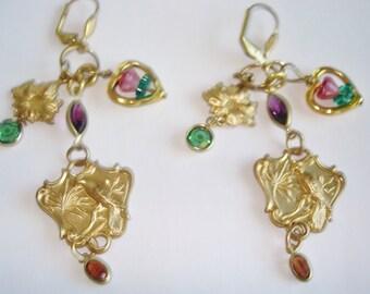 Bird  Heart Flower Rhinestone Gold Tone Dangle Earrings