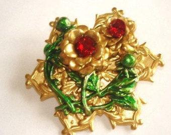 Red Rhinestone Flower Filigree Brooch Gold Tone