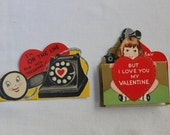 2 Valentines Telephone Phone Made in USA Die Cut VINTAGE by Plantdreaming