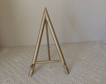 Gold Painted Tripod Wood Easel. Vintage Antique Gold Wood Display Stand. Collapsible Photo Holder. Rustic Easel Sign Holder. Table Top Easel