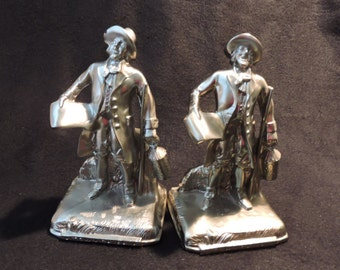 Metal Town Crier Bookends With A Pewter/Nickel Matte Color Finish