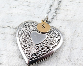 Personalized Heart Locket Necklace with Hand Stamped Initial, Wedding Gift, Anniversary Gift, Wedding Gift