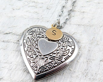 Personalized Heart Locket Necklace with Hand Stamped Initial, Mother's Day Gift, Anniversary Gift, Wedding Gift