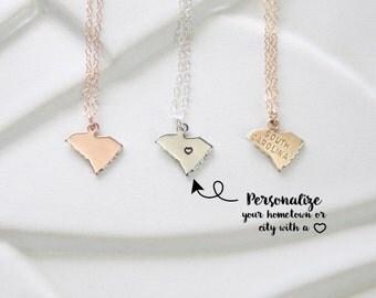 State Jewelry South Carolina State Necklace, Custom State Bracelet South Carolina Gold or Sterling Silver, Rose Gold South Carolina Necklace