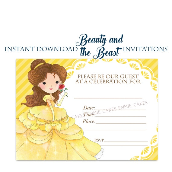 Beauty And The Beast Invitation Instant Download Fill-in 5x7