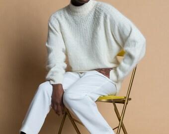 Vintage 80s Ivory Angora + Silk Knit Pearl Sweater | M/L